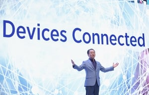 YH Eom, President of Samsung Electronics Europe, speaks at the Samsung press conference at IFA