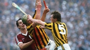 Ger Henderson of Kilkenny (bloodied) with team-mate Liam Walsh and Galway's Brendan Lynskey from the 1987 All-Ireland final