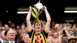 Kilkenny captain Joey Holden lifts the Liam MacCarthy Cup after the Cats beat Galway in the All-Ireland final