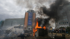 Farmers staged a noisy protest outside the EU council building