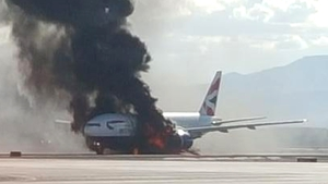 British Airways said the plane suffered a technical difficulty before left engine burst into flames