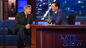 George Clooney was one of the guests on Stephen Colbert's first night. Pic: CBS