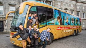 The Brown Bag Films team pictured with their bus wrap in association with Expressway & Irish Design 2015. Photo by Anthony Woods