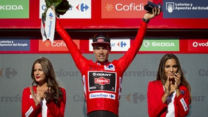 Tom Dumoulin in the Vuelta a Espana leader's red jersey