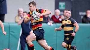 Thomas Farrell runs in for a try for Lansdowne against Young Munster