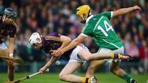 Tom Morrissey of Limerick tackles Wexford's Liam Ryan in the All-Ireland Under-21 Championship final