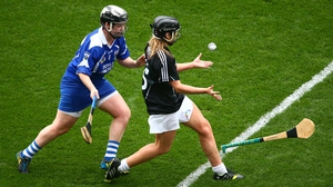 Waterford's Jennie Simpson and Melissa Lyons of Kildare in the All-Ireland intermediate camogie final