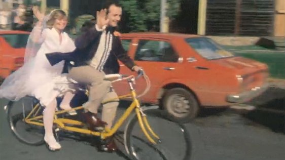 Bride and groom on tandem 1980