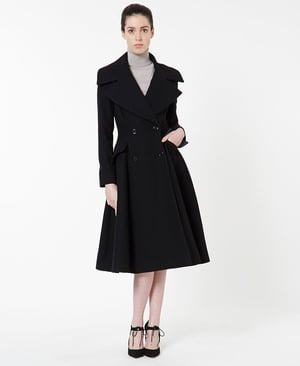 Peter O'Brien's sixth Arnotts collection has arrived, wide collar coat €495
