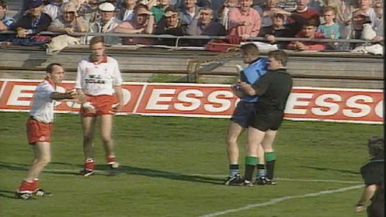 Charlie Redmond is restrained during 1995 All Ireland Football Final