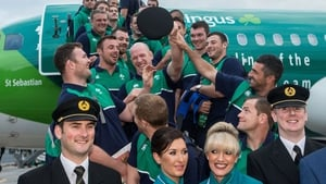 Paul O'Connell and the Ireland squad board the plane at Dublin Airport