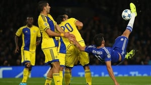 Diego Costa attempts the spectacular with an overhead kick