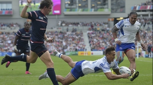 Tim Nanai-Williams collects and touches down for Samoa
