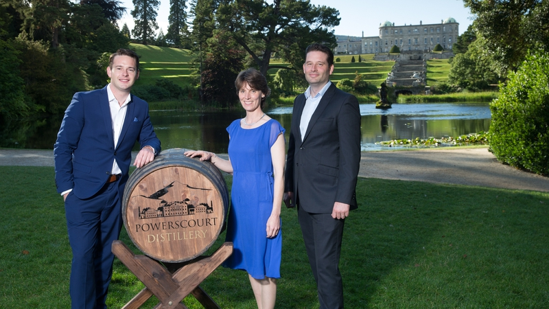 Powerscourt Distillery founders Gerry Ginty & Ashley Gardiner with Sarah Slazenger, MD at Powerscourt Estate