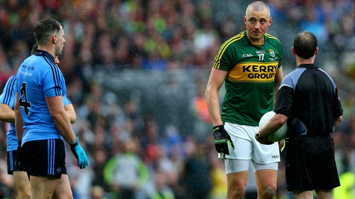 Philly McMahon (l) gets eyed by Kieran Donaghy after the incident in the All-Ireland final