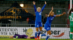 Finland celebrate their opening goal