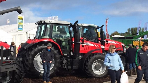 A tractor is among the machinery on sale at this year's National Ploughing Championships in Co Laois