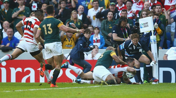Karne Hesketh touches down for a Japanese victory against South Africa