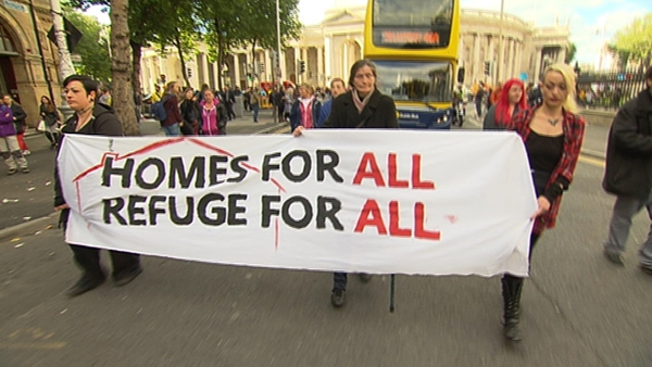 A group protested over the homelessness crisis