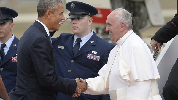 Pope Francis was greeted at the airport by President Barack Obama and the First Family