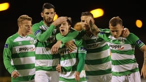 Shamrock Rovers players celebrate Brandon Miele's late winner