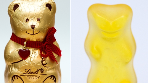 A German court dismisses a claim that the gold-clad, red-bowed chocolate bears violated a trademark held by Haribo