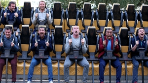 Members of the Ireland squad put the fear of God into the suspension system of a ride at Alton Towers