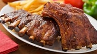 Spiced Pork Ribs - Spiced pork ribs, slow cooked with orange and cider and green cabbage slaw. Delicious!
