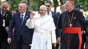 Pope Francis arrives for a religious service at the site of the 9/11 memorial in New York