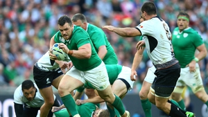 Cian Healy in action for Ireland against Romania