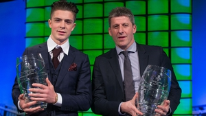 Jack Grealish (left) pictured with Andy Townsend after being named Republic of Ireland U21 player of the year earlier this year