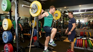 Darren Cave works out at Ireland's training base at Surrey Sports Park, Guilford