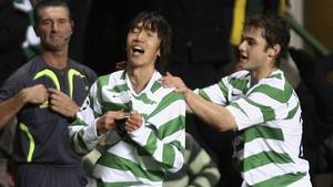 Celtic's Shunsuke Nakamura (centre) celebrates scoring the winning goal against Manchester United in a Champions League tie in 2006