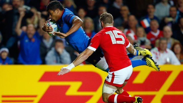 Wesley Fofana dives over the whitewash for a try against France