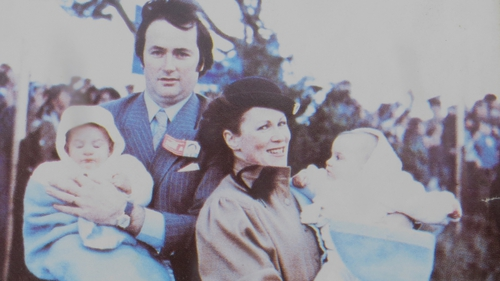 Terry and Paula Grant with their twin girls at the occasion of Pope John Paul coming to Killineer.