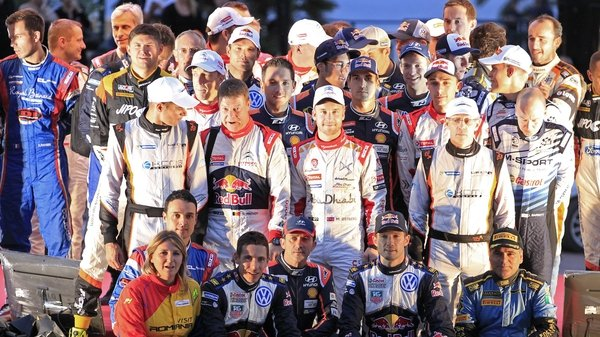 Drivers and co-drivers pose for a group photo during the presentation of the FIA World Rally Championship