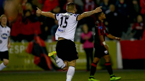 Paddy Barrett wheels away in celebration after giving Dundalk the lead