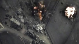 Russian Defence Ministry image of an air strike on a target in Syria