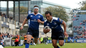 Isa Nacewa cruises over for a try in Leinster's comfortable victory at the RDS