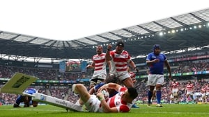 Akihito Yamada crashes over for Japan in their win against Samoa