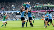 Ireland's Peter O'Mahony steals a line-out ahead of Sergio Parisse