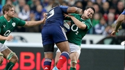 Johnny Sexton clashes with Mathieu Bastareaud during this year's Six Nations