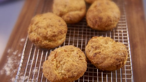 Rachel Allen's Cheesy Buttermilk Scones. Beautifully light and fluffy - perfect with a slathering of butter.