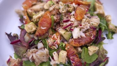 Crab and Blood Orange Salad - This zesty, fresh salad serves 4 - 6 as a starter or light lunch.