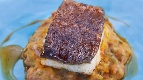 Rachel Allen's Roast Cod with White Bean and Chorizo Mash. A hearty family dinner that's sure to impress.