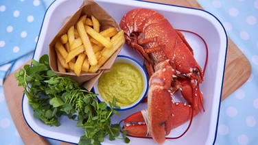 Lobster and Mayonnaise - Beautiful, tender lobster served with wild garlic pesto aioli.