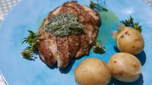 A light, fresh dish that is quick to prepare. Rachel Allen's Pan Fried Fish with Watercress Butter