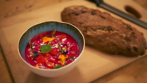 A gorgeous, healthy and flavoursome soup. Serves four as a starter, Rachel Allen's Raw Beetroot Soup with Dill and Honey Yoghurt