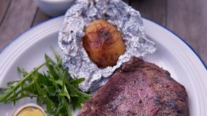 Rachel Allen's Steak and watercress bearnaise BBQ style.