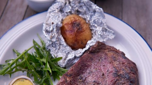 Rachel Allen's Steak and watercress bearnaise BBQ style.